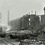 Blast furnaces looking N