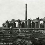 Workington Moss Bay. Blast furnaces and hot stoves looking SW.. 1909.