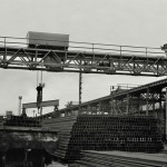 Workington Moss Bay. Rail bank with overhead travelling crane. 1960s?