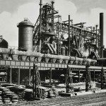 Workington Derwent Works. Blast furnaces looking SE. 1960s?