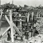 Workington harbour. New harbour bridge pier under construction.
