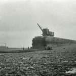 Workington harbour. New breakwater under construction.