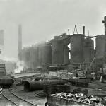 Blast furnaces looking N