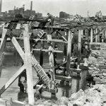 Workington harbour. New harbour bridge pier under construction.