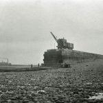 Workington harbour. New breakwater under construction.
