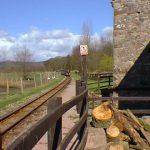 Down train approaching mill